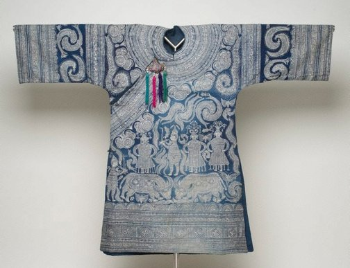 An image of Shaman or Leader's Robe with blue and white designs by Miao people