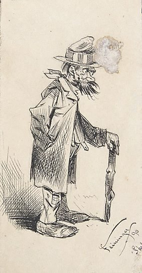 An image of (Tramp standing, leaning on stick) by Lyonel Feininger