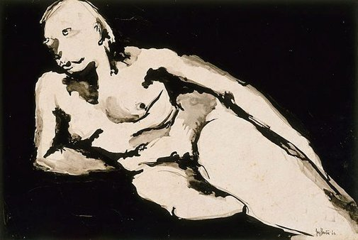 An image of Reclining female nude (Barbara Blackman) by Joy Hester