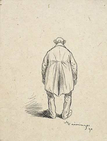 An image of (Bald man in a frock coat; back view) by Lyonel Feininger