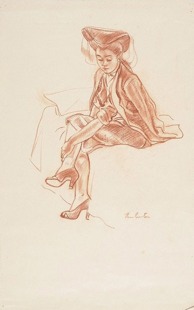 An image of Woman in a hat, seated on bed by Thea Proctor