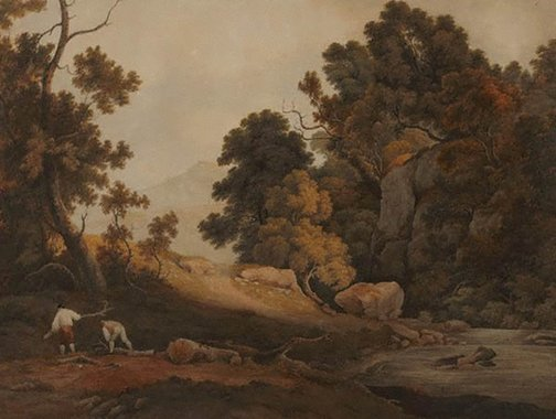 An image of A wooded landscape with sawyers collecting wood by attrib. John Glover