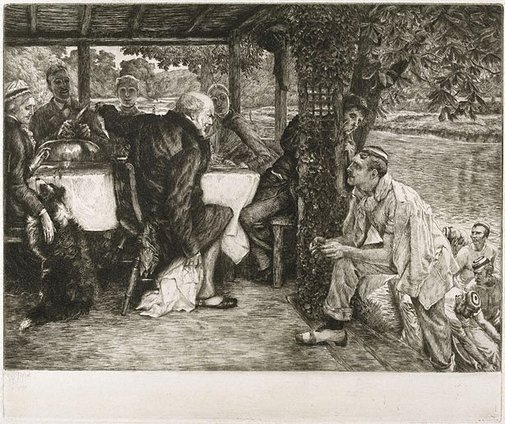 An image of The Prodigal Son: the fatted calf by James Tissot