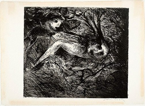 An image of Broken nude and flying figure by Arthur Boyd