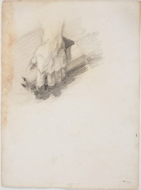 An image of recto: Hand holding a scroll verso: Pan by Lloyd Rees