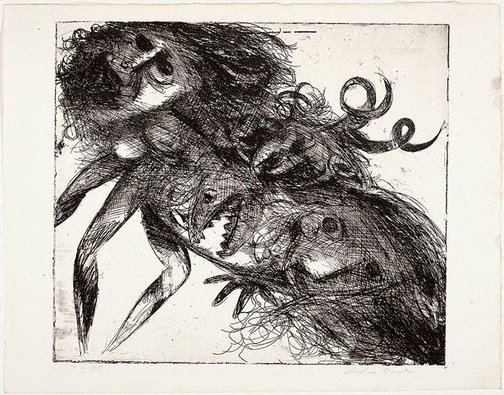An image of Double figure with shark head and horns by Arthur Boyd