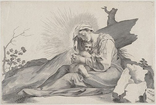 An image of The Holy Virgin seated at the foot of a tree by Claude Mellan