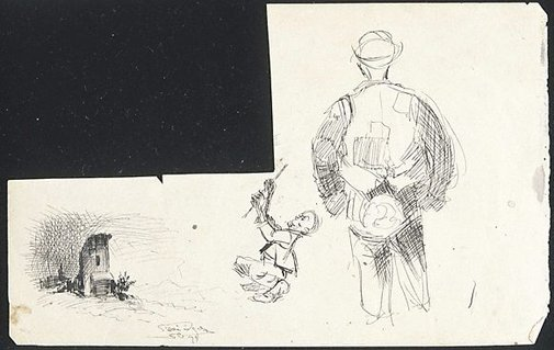 An image of (Sketchbook leaf with one corner cut out) by Lyonel Feininger
