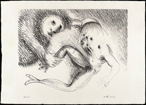 An image of St Francis cleansing the leper by Arthur Boyd