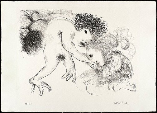 An image of St Francis kisses the hand of a leper by Arthur Boyd