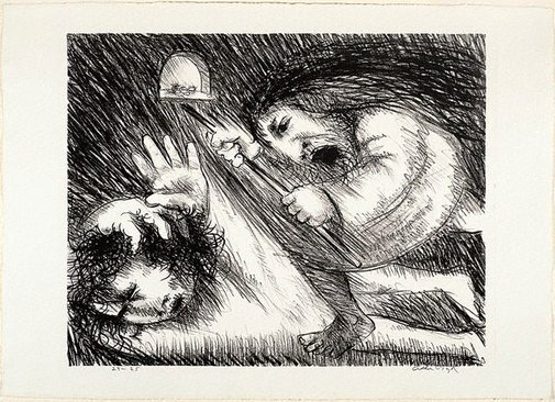 An image of St Francis beaten by his father by Arthur Boyd