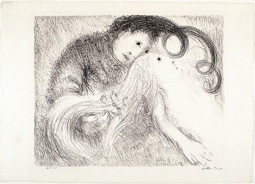 An image of St Francis holding St Clare's hair by Arthur Boyd