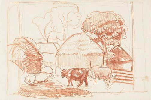 An image of Farmyard, south England by Nora Heysen