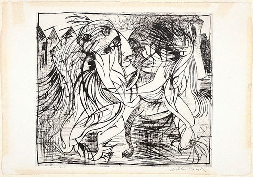 An image of Embracing figures before factory with smoking chimney by Arthur Boyd