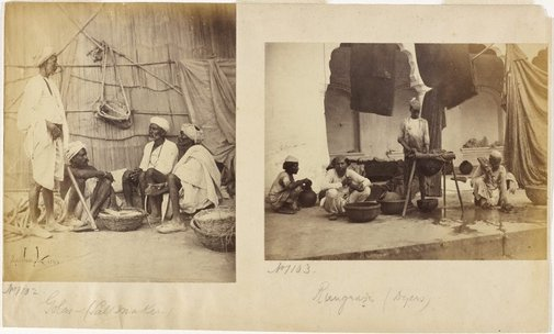 An image of Recto (right): Golas or Salt Makers Recto (left): Rangrez or Dyers Verso: Group of Vice(illeg.) and council 1868 by Shepherd & Robertson