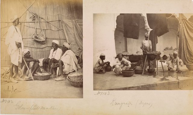 An image of recto (left): Rangrez or Dyers recto (right): Golas or Salt Makers  erso: Group of Vice(illeg.) and council 1868