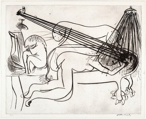 An image of Hypnotist with nude, bath and beast by Arthur Boyd