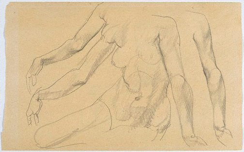 An image of recto: Studies of female arms, torso verso: Studies of male nude from rear by Eric Wilson