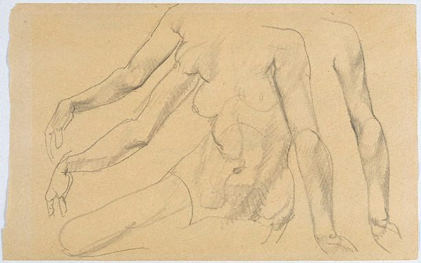 An image of recto: Studies of female arms, torso verso: Studies of male nude from rear