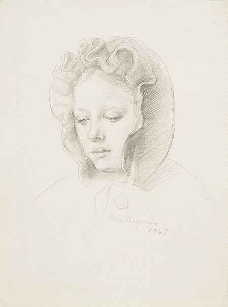 An image of (Study for a girl in a bonnet) by Nora Heysen