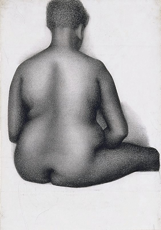 An image of Seated female nude, back view, London