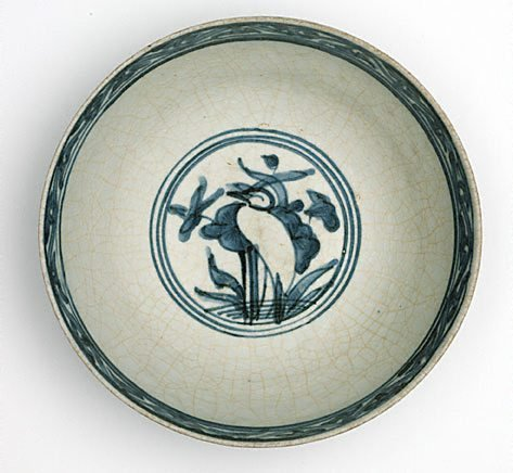 An image of Bowl with design of ducks and lotus