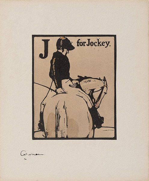 An image of J for Jockey by Sir William Nicholson