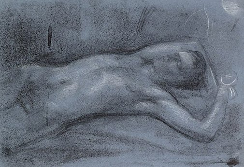 An image of Male nude in moonlight by Nora Heysen