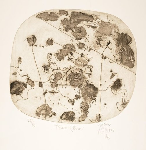 An image of Flowers and storm by John Olsen