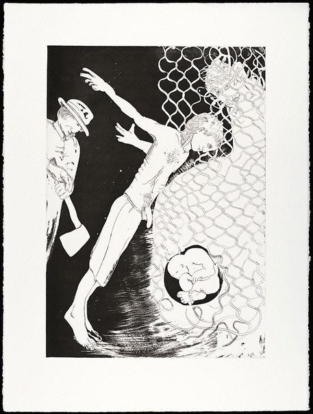 An image of (Illustration for Peter Porter's poem 'The Narcissus file') by Arthur Boyd