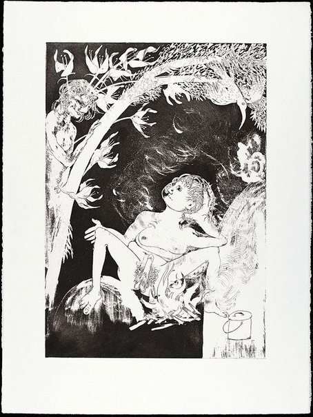 An image of (Illustration for Peter Porter's poem 'Echo's half moon calf') by Arthur Boyd