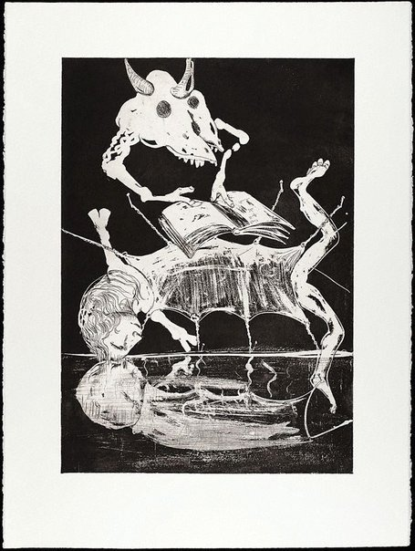 An image of (Illustration for Peter Porter's poem 'Narcissus loses his love') by Arthur Boyd