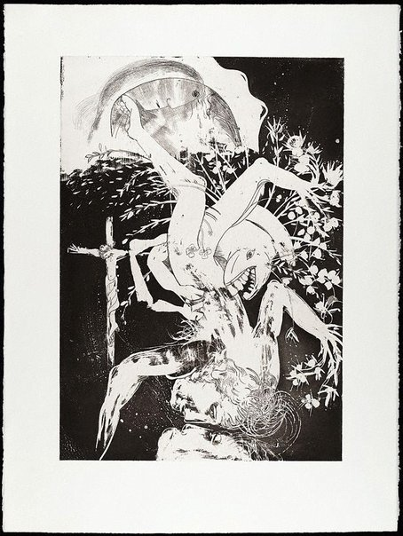 An image of (Illustration for Peter Porter's poem 'Narcissus laments Orpheus') by Arthur Boyd