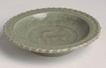 Alternate image of Saucer dish with slip design of antelope and foliate edge by Longquan ware