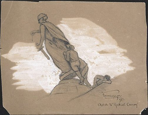 An image of Sketch to 'Gabriel Conroy' by Lyonel Feininger