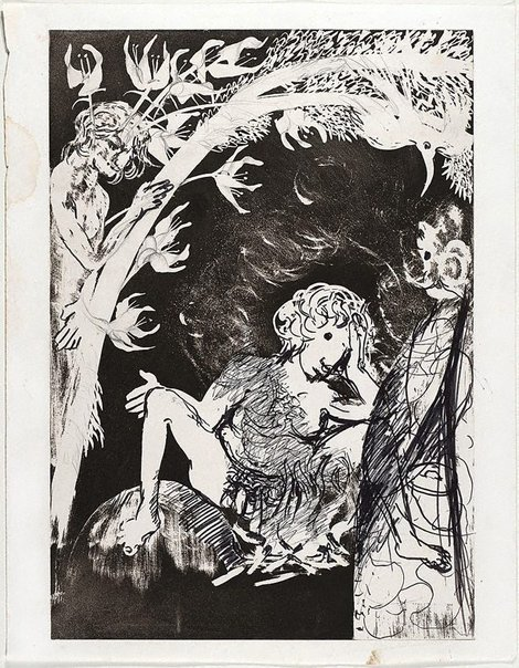 An image of (Illustration for Peter Porter's poem 'Echo's moon calf') by Arthur Boyd