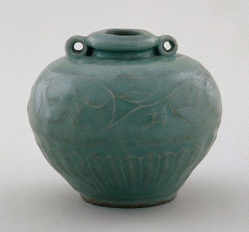 An image of Globular bowl with floral design and two ear lugs by Longquan ware