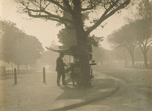 An image of Untitled (Man standing at fruit stall in a park) by James S Stening