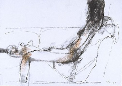 An image of Seated female nude from side, with a dog by John Olsen