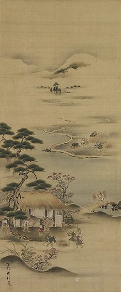 An image of Rice fields in spring and autumn by Baiken Norinobu