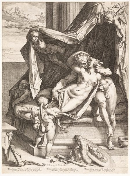 An image of Mars and Venus by Hendrick Goltzius, after Bartholomaeus Spranger