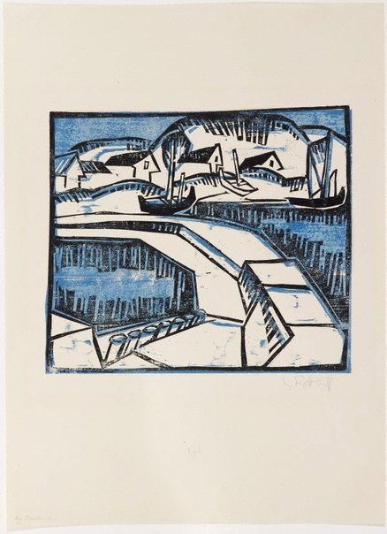 An image of Dunes and pier by Karl Schmidt-Rottluff