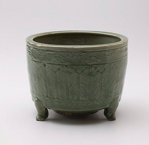 An image of Tripod incense burner with plantain leaves design by Longquan ware