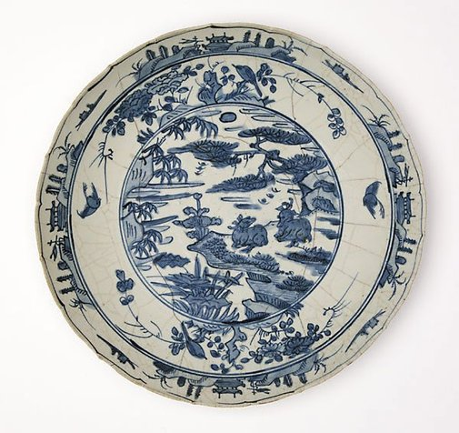 An image of Dish with design of two deer by Swatow ware