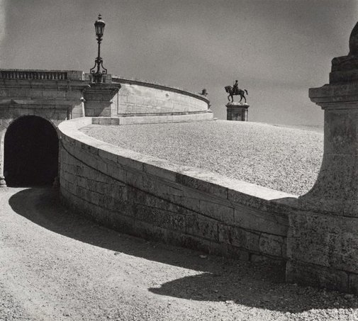 An image of Untitled (ramp and statue of Anne de Montmorency 1886 by Paul Dubois, Domaine de Chantilly) by Max Dupain