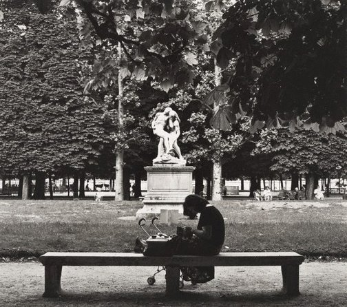 An image of Untitled (woman with pram in Jardin des Tuileries) by Max Dupain