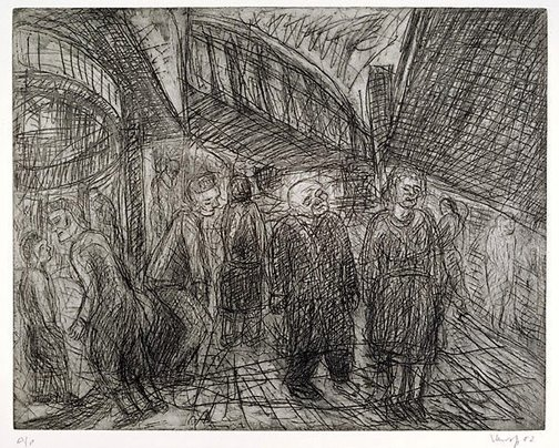 An image of Outside Kilburn Underground by Leon Kossoff