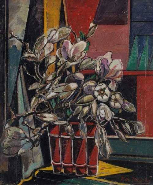 An image of Magnolias in red vase by Roy de Maistre