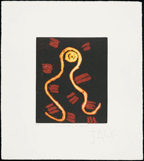 An image of Ngapa Kurnjuwu-rla Jukurrpa (Water dreaming at Kurnjuwu) by Jack Jakamarra Ross