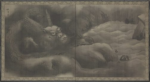 An image of Dragon by the river by Kanô YÛSEN Hironobu